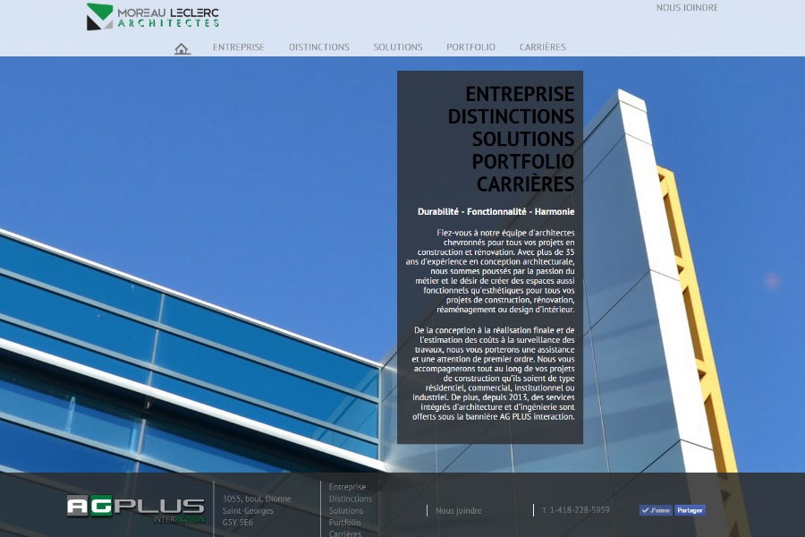 Site Web Moreau Architectes